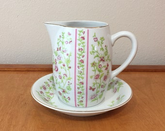 Pitcher and Bowl with Pink Floral Design - Seven Seas Bath Fashions