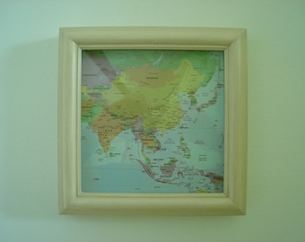 beige decor frame Asian map