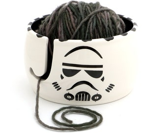 Star Wars (R) yarn bowl ,knit bowl, storm trooper (R)  bowl,  gift for knitter, crochet wool knitting supplies, star wars knit bowl