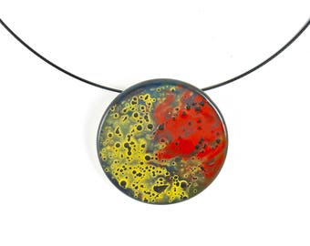 Red Yellow Black Fused Glass Circle Hand Painted Pendant Necklace