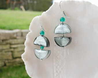 Murano Glass Moon  Earrings
