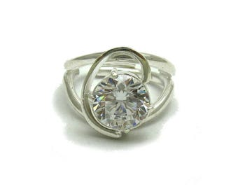 Sterling silver ring solid 925 with 10mm CZ pendant
