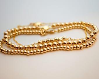 Gold bracelets, Gold stack bracelets, Gold bead bracelets, Gold bracelet set, Stacking bracelet set, Layer bracelet, Everyday Bracelet