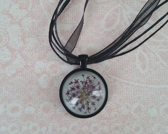Dried Flower Necklace Pressed Flower Cabochon Handmade One Inch Round Resin Pendant--Purple