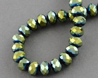 150 pcs Rondelle  FACETED GLASS CRYSTAL Beads 4mm x 3mm Jewellery Making Metallic Green