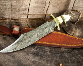 "15"" Inch Custom Hand Made Forged Damascus Steel Hunting Bowie Knife Fixed Blade Deer Antler Handle W/ Leather Sheath  fathers day gift"