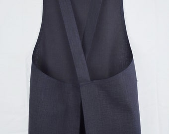 Cross Back Apron in Rustic Navy Linen; Japanese Apron; No Ties Apron