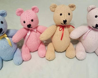 Knitted Teddy Bears, Hand Knit Toy, Cute Cuddly Creatures, Brithday Gifts, Baby Shower Gifts, Teddy Bears