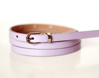 Free shipping! Leather belt, pink belt, lilac belt, waist belt, lilac dress belt, skinny belt, narrow belt, lilac skinny belt, purple belt