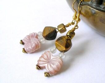 Geometric Gemstone Earrings Tiger Eye Pink Mussel Shell Butterfly Brass Boho Fashion For Women
