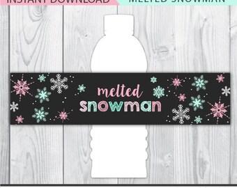 melted snowman label, melted snowman water bottle labels, winter onederland decor, winter birthday printable, winter onederland decoration