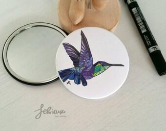 Pocket matte mirror with Polygonal Hummingbird