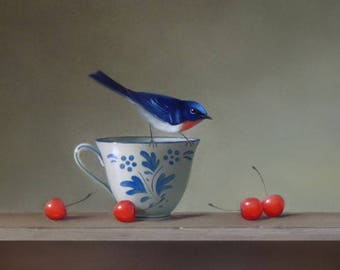 Still Life with Cherries~ Bird Art Print, Oil Painting, Bluebird