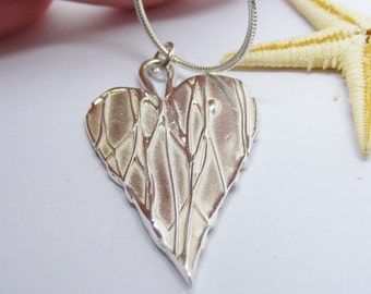 Sterling Silver Heart Fluidity Pendant, reversible, textured heart, silver pendant, unique jewellery