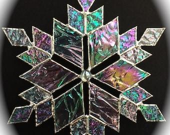 stained glass snowflake suncatcher  (design 13C)