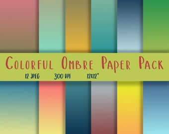 Ombre Paper Pack - Gradient Background - Ombre Background Paper - Ombre Digital Paper - Blue Ombre Scrapbook Paper - Gradient Digital Paper