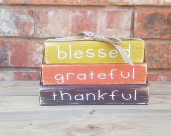 Fall Thanksgiving Wooden Block Set Blessed Grateful Thankful