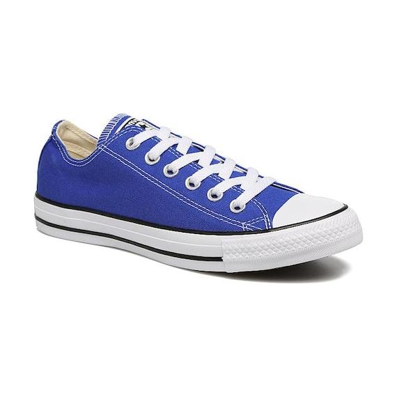 Royal Blue Converse Low Top Custom Kicks Glass Slippers w/ Swarovski Crystal Wedding Chucks Rhinestone Jewels All Star Bridal Sneakers Shoes