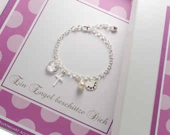 Baptism bracelet, 925 sterling silver Christening ring, cross, engraving, gift box