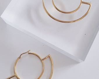 Gold earrings,gold hoops,minimalist earrings,gold simple earrings,geometric earrings,moon earrings,minimalist hoops,gold filled hoops