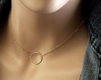 14k Gold Infinity Necklace, Solid Gold  Infinity Charm Necklace, 14k Gold Minimalist Layering Necklace, Layered Delicate Gold Jewelry