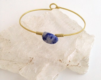 Sodalite Bangle/Cuff - Brass Bracelet, Forged Metal, Hammered, Wire Wrapped