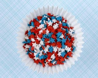 Star Sprinkles (3 oz) - Red, White, Blue Confetti Star Sprinkles for Cakes, Cupcakes, Ice Cream Sundaes