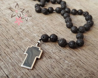 Men's Necklace / Black Lava Gemstones / Grey-Silver Cross / Rosary Handmade Unisex Necklace/ men's gift