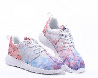 Custom Nike Roshe Run athletic running shoes with Cherry Blossom print