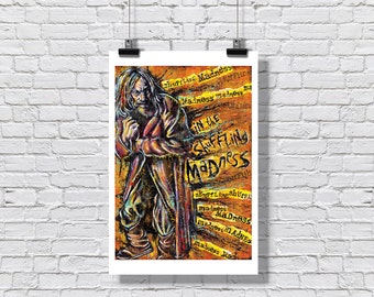 """Art Print Poster 12"""" x 18"""" - Jethro Tull - Aqualung In the Shuffling Madness Music 60s and 70s rock British RocknRoll"""