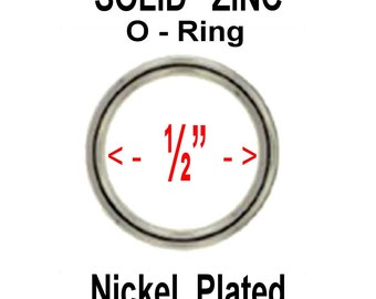 "20 PIECES - 1/2"" - SOLID Zinc Metal O Rings - Nickel Plate Finish"