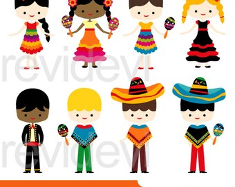 Cinco de mayo kids clipart sale, 5th May Fiesta Mexican Boys Girls, digital clipart, instant download