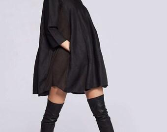 Linen Tunic, Trendy Plus Size Clothing, Plus Size Linen, Black Linen Dress, Plus Size Tunic, Oversized Tunic, Black Tunic Dress,Womens Tunic