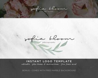 Watercolor Logo - DIY Logo Template - Green Wreath - Green Leaves - Feminine Logo - Photography Logo - Company Logo - Calligraphy Logo 13