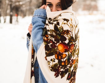 Fall Blanket Scarf, Oversized scarf, printed scarf, Shawl, Warm Scarf, bohemian Scarf, Scarf, Bohemian, Oversized Scarf, Women, For her