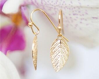 Golden Leaf Earrings - Gold earrings - Leaves earrings, Elegant earrings, Short earrings, Leaf jewelry, Under 25 jewelry