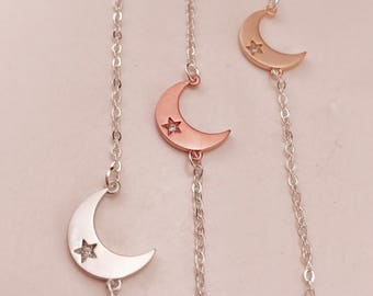 Crescent moon necklace. 3 best friend necklaces. Best friend gift. Set of 2 or 3 necklaces. Bff necklace. Moon jewelry. Rose gold, silver.