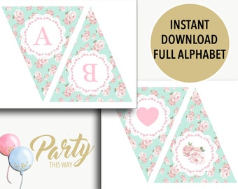 Alphabet printable banner instant download/happy birthday banner/ baby shower bunting/baptism banner/shabby chic bunting/DIY-Cassandra