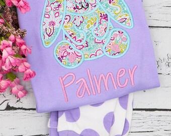 Easter Pajamas, Spring Pajamas, Bunny Applique, Monogrammed Pajamas, Easter Applique, baby's 1st Easter, First Easter, First Easter Pajamas