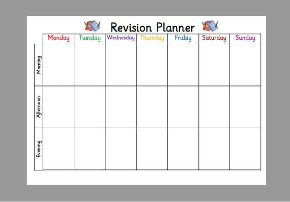 Exam Revision PlannerTimetable A Laminated Planner Wipe