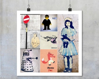 Street Art Montage - square photographs stencil graffiti bansky doctor dr who dalek wall wall art decor 22x22 15x15 18x18 12x12