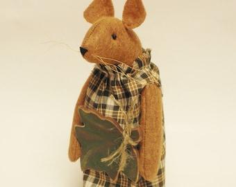 Primitive Leaf Mouse, Mouse with Leaf, Primitive Fall Decor