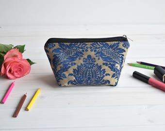 Blue cosmetic pouch, Make Up Pouch, Toiletry bag, Project bag, Travel bag, Coin Purse, Make Up bag, Charger bag with zipper, Charger case
