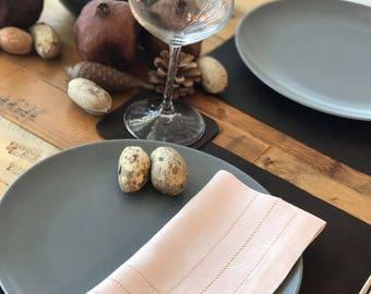 Set of 6 Pieces - Paledogwood Pure Linen Hemstitched Napkins