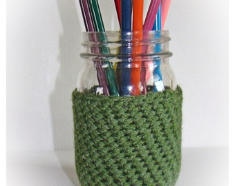 Asparagus Green Ball Mason Jar Cozy Pint sze, canning cover, drink container sweater, crochet, Eco friendly