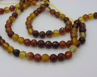 45 agate 8 mm Brown agate and beige.kaki faceted sold yarn