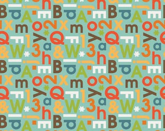 School Days Alphabet Mint Fabric by the Yard by Riley Blake