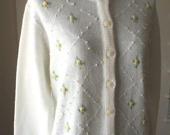 Vintage Cardigan, White Sweater, 60's Cardigan Sweater, Embroidered Sweater, Pastel Embroidered Flowers, Rockabilly, 50's,  Medium, Vegan