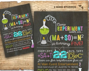 Science birthday party invitation - Science birthday invitations - Science party invites -  Chalkboard birthday party invitations you print