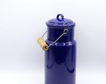 Vintage Blue Enamel Milk Pail, Vintage Enamelware, Blue Enamelware